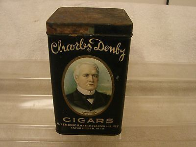 Charles Denby Cigars Tin 6Th Dist. Factory No. 202 Ind . 25 Count Nice Graphics