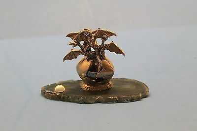Pewter DRAGONS in EGG w/ Colorful Glass Orb and Crystal