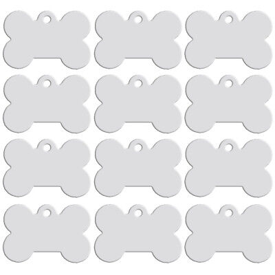 20pcs/lot Bone Shape Custom Pet Dog Tags Disc ID Name Engraved Collar Tag Silver