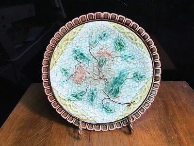 Antique German Majolica Napkin Plate (see Matching Compote) c.1830-1880