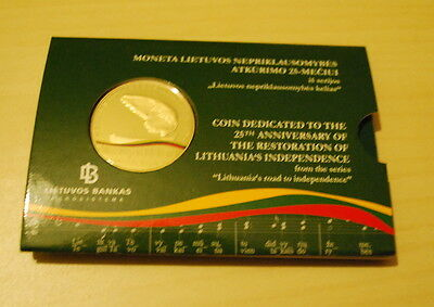 2015 lithuania 5 euro 25th restoration of the lithuania's independence folder