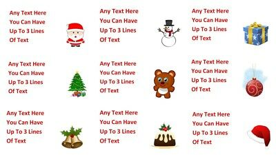 65 Personalised Christmas Address Stickers Labels Santa Gift Tag Invitation xmas