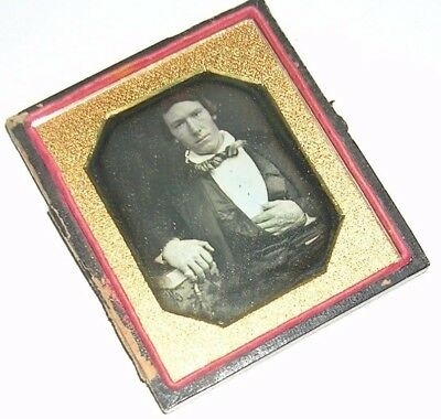 Sixth Plate Daguerreotype of a Man with Large Hands