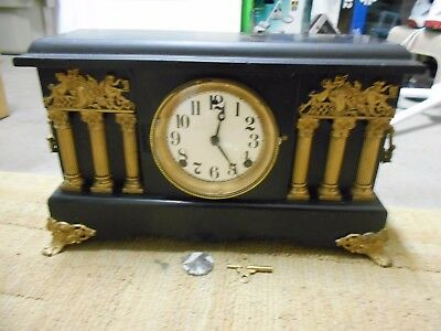 Antique/vintage Sessions Circa 1900 Wooden Mantle Clock With Key & Pendulum