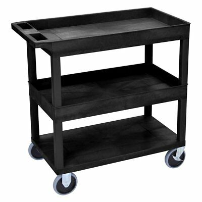 Luxor HD High Capacity 2 Tub and 1 Flat Shelf Cart
