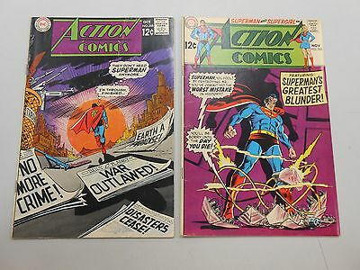 Action Comics lot of 2! #'s 368 and 369! FN6.0+! Silver age DC beauties! LOOK!