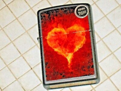 New Windproof ZIPPO USA Flame Lighter Heart Valentine Love Click Sweet Girl Lady