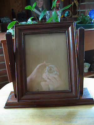 Vintage Hand Crafted Wooden Swivel Easel  Picture Frame with Glass on Stand