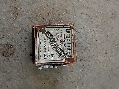 """Antique Sewing Stayin Pin Cube Best Glass Head Toilet Steel Germany 2"""""""