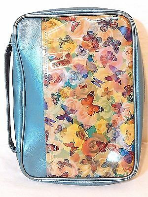 Blue Zip  Book Cover W/handle Xlarge By We Sew It-Floral & Butterflies