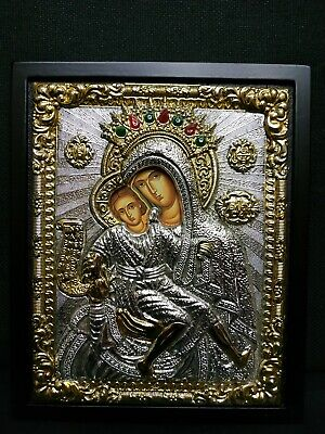 Jesus Christ And Theotokos (Virgin Mary) Silver Greek Orthodox Icon 17.5x21cm