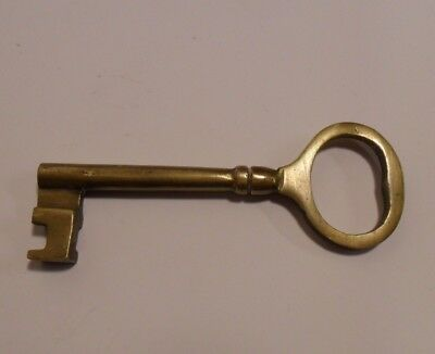 Vintage Antique Long Solid Barrel Brass Door Lock Skeleton Key