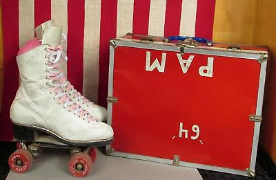 Vintage Chicago Hyde Womens Leather Roller Skates Fo-Mac Wheels w/ Case Size 6.5