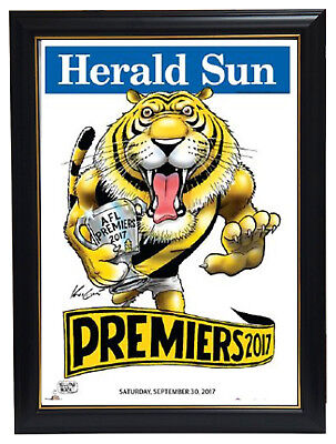 2017 AFL Premiers Richmond Herald Sun Print Framed - IN STOCK NOW Dustin Martin