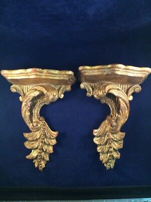 Vintage Wall Shelf Gold Gilt  Leaf Design Pair (2) Made in Italy