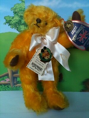 Disney Convention Merrythought YELLOW MOHAIR TEDDY BEAR Signed MICKEY Pin Rare