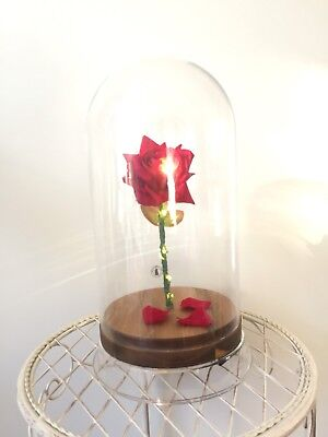 Beauty and the Beast Enchanted Rose LED LIGHT Dome Cloche - PINK