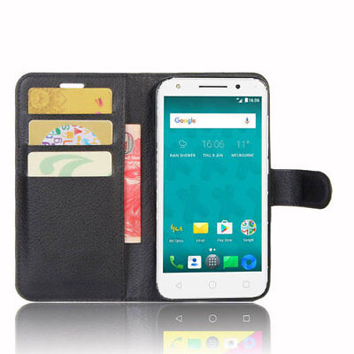 HQ Wallet Money Card Leather Case Cover for Optus X Spirit + FREE Stylus