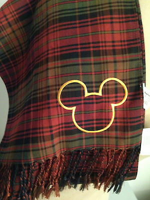 NWT Walt Disney World Mickey Mouse Head Plaid Red/Green/Black Scarf