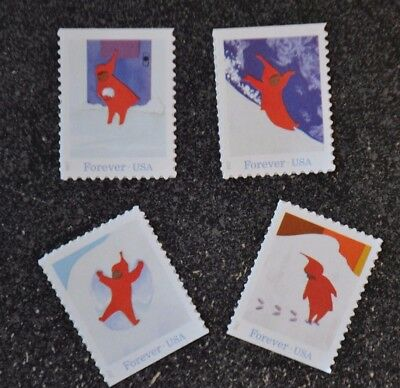 2017USA Forever - The Snowy Day - Set of 4 Singles  Mint NH  holiday