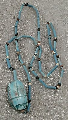 """Egyptian Pharaoh's Necklace, Mummy Beads Terracotta 30"""" Beetle Scarab Amulet/A11"""