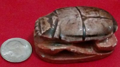 Egyptian Amulet, Beetle Scarab, Natural Carved Stone 40 gm, Read Description