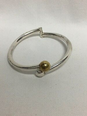 Taxco Mexico Sterling Silver Hinged Ball Bracelet TD-D2