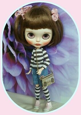 Blythe doll denim outfit and top, socks,& tape recorder themed necklace  NO DOLL