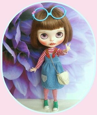Blythe doll denim outfit and real leather shoulder bag   **  NO DOLL  **