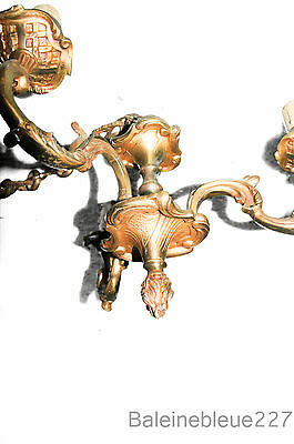 Small Old French Gold Bronze chandelier 3 arms lights Rococo Louis XV Jugendstil