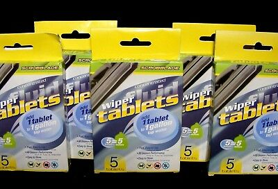 SCRUBBLADE Concentrated Wiper Fluid Tablets Each Tablet = 1 Gallon~5 Packs of 5~