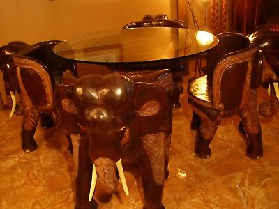 Unique Collectible Elephant Dining Table & 4 Chairs Carved Art Solid wood RARE!