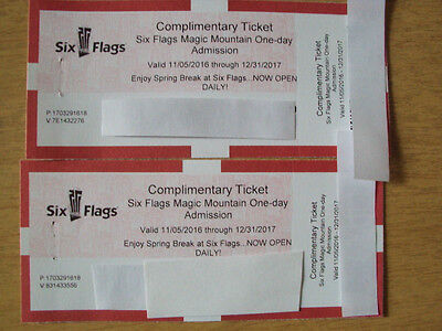 Six Flags Magic Mountain One Day Pair of Tickets 2017