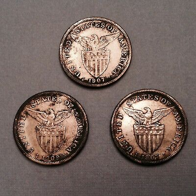 -1907 S & 1909 S  US  Philippines Silver Pesos WWII Sea Salvage - lot of 3 coins