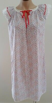 Vintage 80s Mary Lyn Australia WHITE RED PURPLE Floral Lace Trim Nightie size 10