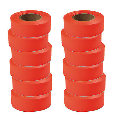 "Lot of 12 Rolls! Empire 77002 Fluorecent Orange Flagging Tape 1"" x 200'"