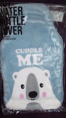 Plush 2 L blue Cuddle Me hot water bottle cover Free Postage