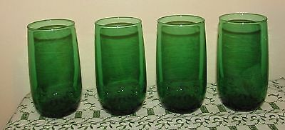 Anchor Hocking Forest Green 5 inch Tumblers-4 Excellent!