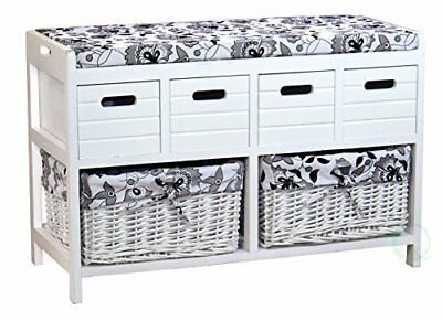 Vintiquewise(TM) Storage Bench with 4 Drawers and 2 Wicker Baskets (l4A)