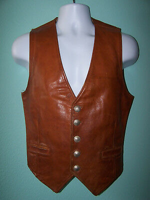 Vintage Mens Brown Genuine Leather Vest With 5 Cent Buffalo Buttons Closure
