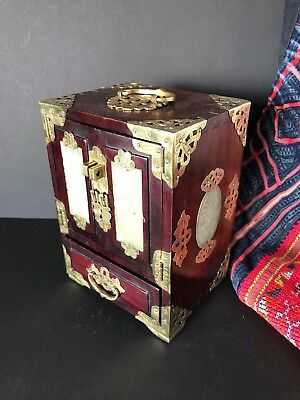 Old Restored Chinese Jewelry Chest …beautiful brass and inlaid