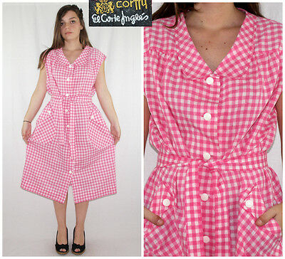 Vtg 70´s SHIRTDRESS white + bubblegum pink GINGHAM folky vibes MADE IN SPAIN