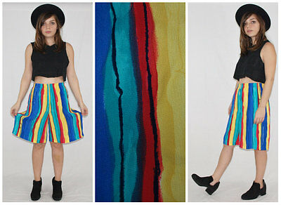 Vintage 80´s BETTY BARCLAY culottes GAUZE airy + colourfull STRIPED watercolor