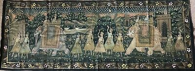 Old Hand painted Indian Painting on Cotton Material (Large) …beautiful colour &