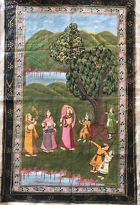 Old Hand painted Indian Painting on Cotton Material  …beautiful colour & detail