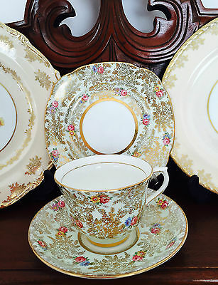 Vintage Colclough Longton England Genuine Bone China Gold Chintz Trio C1939+