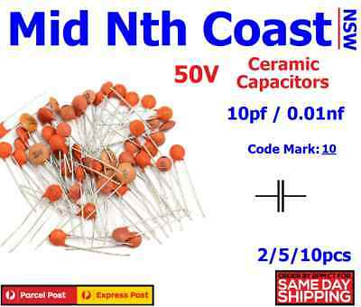 2/5/10pc 10pf - 0.01nf (Code#:10) 50V Low Voltage Ceramic Disc Capacitors