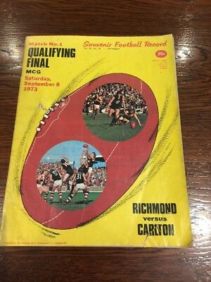 Original Premiers Tigers Richmond Football Qualifying Final Record 1973 Carlton