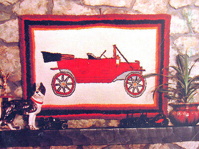 "Rumpelstiltskin's RUG Tuft Hooking Kit CANVAS Pattern 22x32"" MODEL T Vintage CAR"