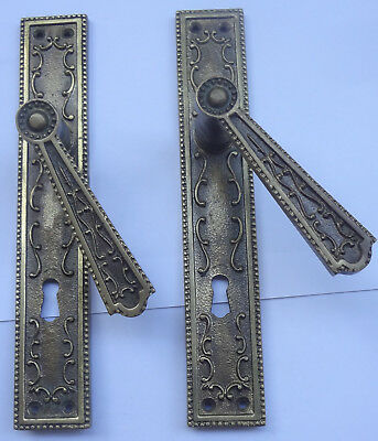 Vintage Solid Brass Door Lever Handles Set + Backplates # Free Shipping